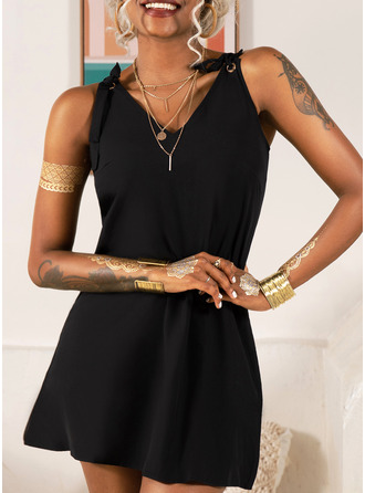 Solid Shift Sleeveless Mini Little Black Casual Vacation Type Dresses