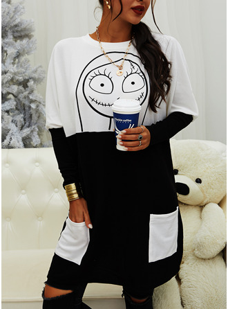 Color Block Print Halloween Round Neck Long Sleeves Sweatshirt