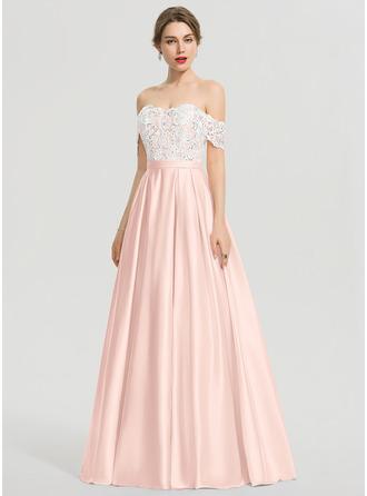 Платье для Балла/Принцесса Выкл-в-плечо Длина до пола Атлас Платье Для Выпускного Вечера с блестки