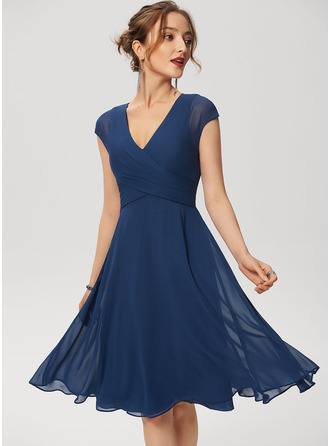 V-Neck Navy Blue Chiffon Dresses