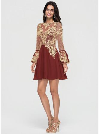 A-Line/Princess Scoop Neck Short/Mini Chiffon Homecoming Dress With Beading Bow(s) Cascading Ruffles