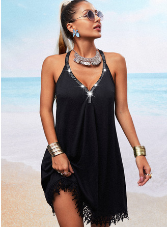 Lace Sequins Solid Shift Sleeveless Mini Casual Vacation Dresses