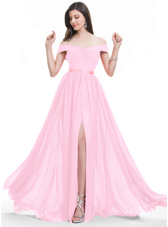 A-Line Off-the-Shoulder Sweep Train Chiffon Bridesmaid Dress With Ruffle Split Front