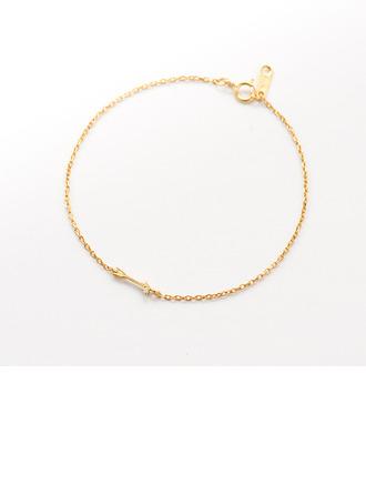 Placcato In Oro 18 Carati Catena delicata Braccialetti con ciondoli Braccialetti nuziali Bracciali damigella d'onore con Cilindrata zircone -