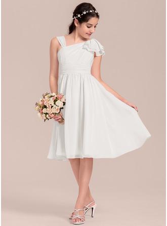 Трапеция/Принцесса V-образный Длина до колен шифон Платье Юнных Подружек Невесты с Ниспадающие оборки