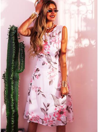 Floral Print A-line Sleeveless Midi Party Vintage Elegant Skater Dresses