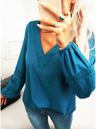 Lace Solid V-Neck Long Sleeves Casual Blouses