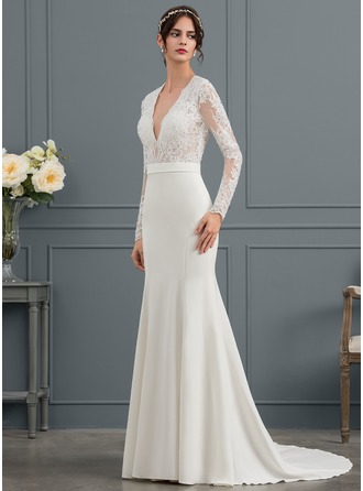 Trumpet/Mermaid V-neck Court Train Stretch Crepe Wedding Dress With Beading Sequins