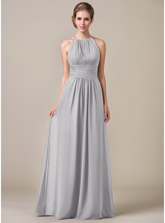 A-Line/Princess Halter Floor-Length Chiffon Bridesmaid Dress With Ruffle Lace