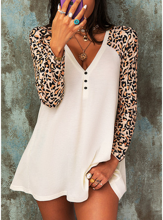 Leopard V-Neck Long Sleeves Button Up Casual Blouses