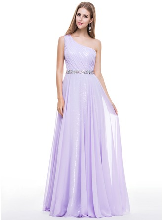 A-Line/Princess One-Shoulder Floor-Length Chiffon Sequined Prom Dress With Ruffle Beading