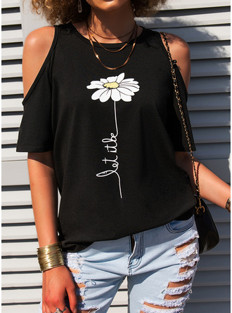 Figure Floral Print Cold Shoulder Short Sleeves Casual Blouses