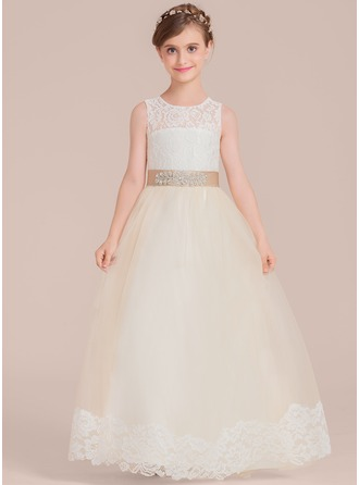 Ball-Gown/Princess Floor-length Flower Girl Dress - Satin/Tulle/Lace Sleeveless Scoop Neck With Sash/Beading