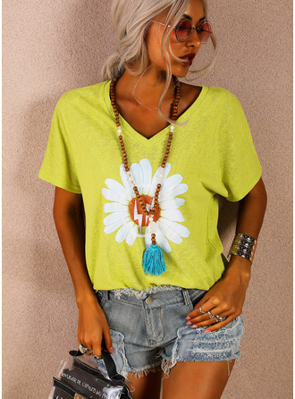 Floral Print V-Neck Short Sleeves Casual T-shirt