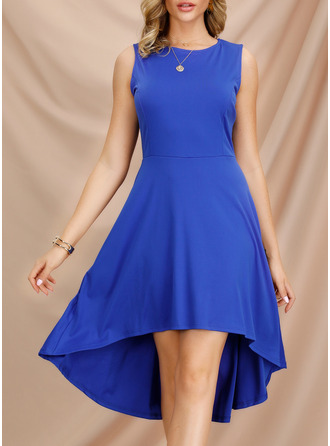 Sólido Vestido linha-A Sem mangas Assimétrico Vintage Elegante Skatista Vestidos na Moda