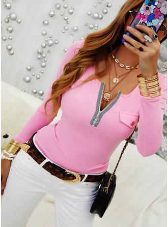 Solid V-Neck Long Sleeves Casual Blouses (1003250497)