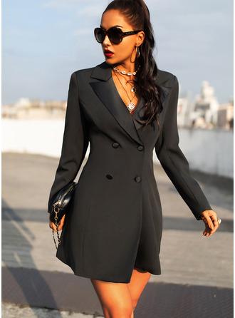 Solid Sheath Long Sleeves Mini Little Black Casual Elegant Dresses
