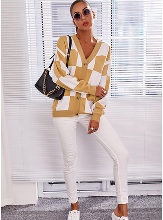 V-Neck Casual Color Block Print Sweaters