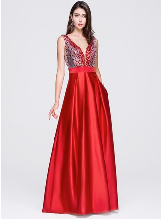 A-Line/Princess Scoop Neck Floor-Length Prom Dress With Beading Sequins