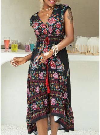 Blommig Print A-linjeklänning Korta ärmar Maxi Boho Semester skater Modeklänningar