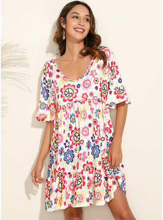 Knee Length V neck Polyester Print 1/2 Sleeves Fashion Dresses