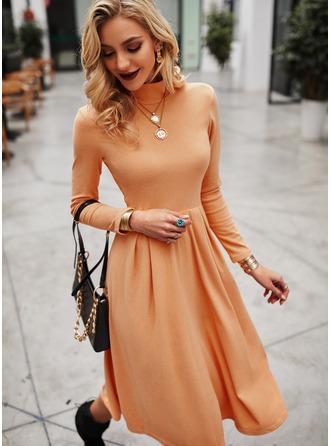 Solid A-line Long Sleeves Midi Elegant Skater Dresses