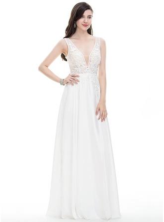 A-Line/Princess V-neck Floor-Length Satin Chiffon Wedding Dress With Beading Sequins