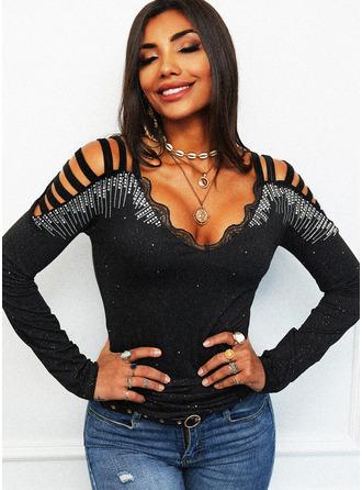 Lace Print Sequins Cold Shoulder Long Sleeves Elegant Blouses