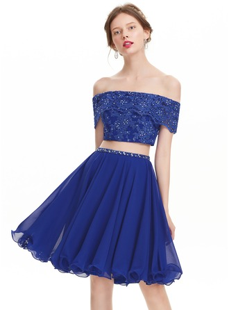 A-Line/Princess Off-the-Shoulder Knee-Length Chiffon Homecoming Dress With Beading Sequins