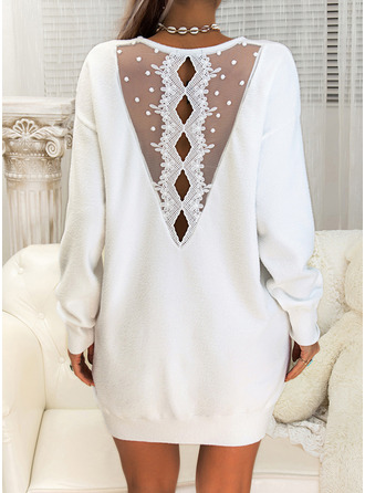 Round Neck Sexy Long Lace Solid Sweaters