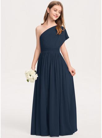 Çan Bir omuz Uzun Etekli Şifon Küçük Nedime Elbisesi Ile Büzgü