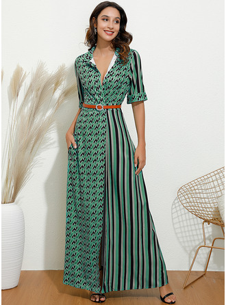 Maxi Shirt collar Polyester Button/Print/PolkaDot 1/2 Sleeves Fashion Dresses