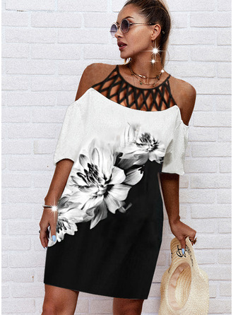 Color Block Floral Print Shift 1/2 Sleeves Midi Casual Tunic Dresses