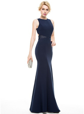 Trumpet/Mermaid Scoop Neck Floor-Length Satin Prom Dress With Lace