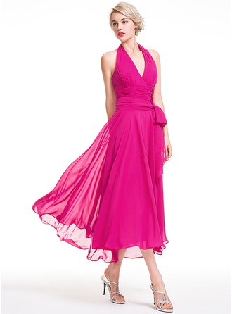 A-Line Halter Asymmetrical Chiffon Bridesmaid Dress With Ruffle Bow(s)