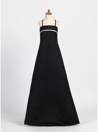 A-Linie/Princess-Linie Rechteckiger Ausschnitt Bodenlang Satin Kleid für junge Brautjungfern mit Schleifenbänder/Stoffgürtel