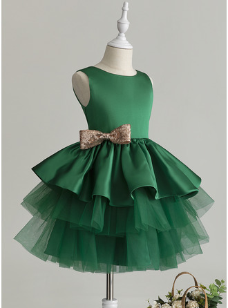 Ball-Gown/Princess Knee-length Flower Girl Dress - Tulle Sleeveless Scoop Neck With Bow(s)