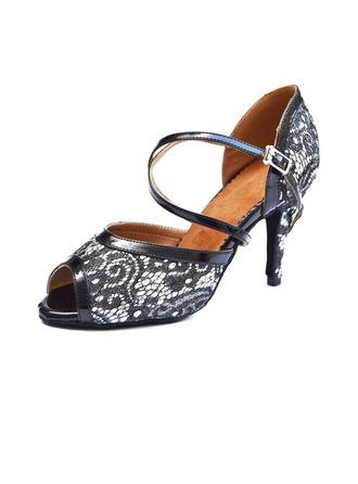 De mujer Cuero Malla Tacones Danza latina con Hebilla Agujereado Zapatos de danza
