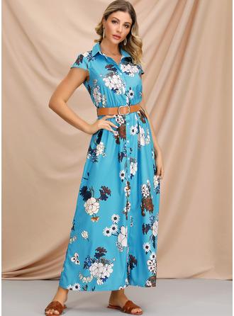 Kwiatowy Nadruk Sukienka Trapezowa Krótkie rękawy Maxi Nieformalny Wakacyjna Sukienka koszulowa Modne Suknie