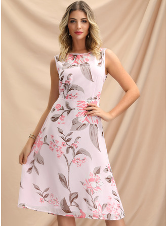 Knee Length Round Neck Organza Print Sleeveless Fashion Dresses