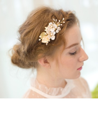Flower Shaped Alloy/Freshwater Pearl Combs & Barrettes