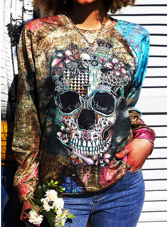 Floral Print Halloween Round Neck Long Sleeves Sweatshirt