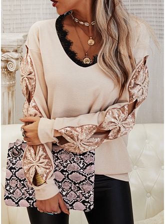 V-Neck Casual Sequins Lace Sweaters
