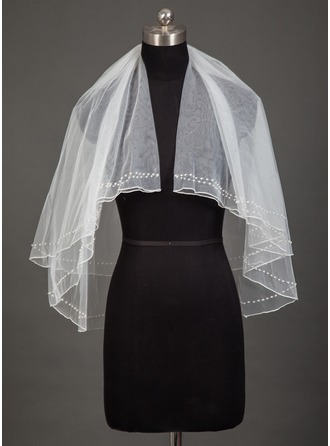 Two-tier Pencil Edge Elbow Bridal Veils With Beading