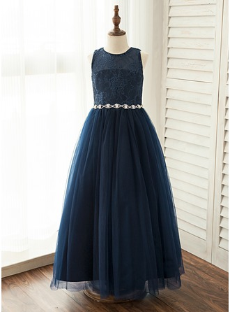 A-Line/Princess Floor-length Flower Girl Dress - Satin/Tulle/Lace Sleeveless Scoop Neck With Rhinestone