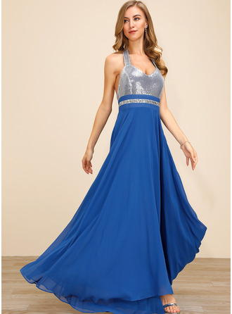 Sequins Solid A-line Sleeveless Maxi Party Sexy Skater Dresses