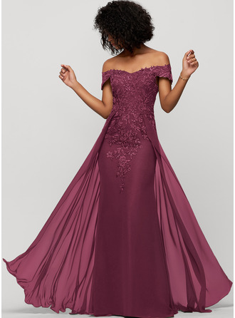 Sheath/Column Off-the-Shoulder Floor-Length Chiffon Evening Dress With Sequins