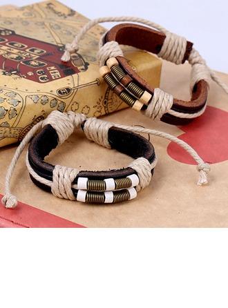 Elegante lega Corda di cuoio Misto Braccialetti di modo (Venduto in un unico pezzo)