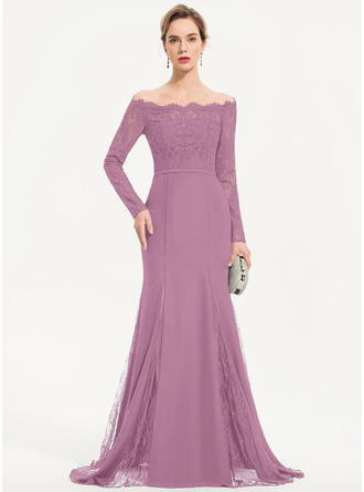 Trumpet/Mermaid Off-the-Shoulder Sweep Train Chiffon Evening Dress