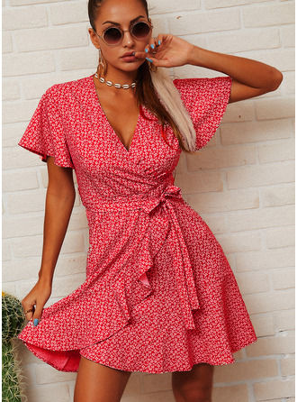 Floral Print A-line Short Sleeves Mini Casual Skater Wrap Dresses